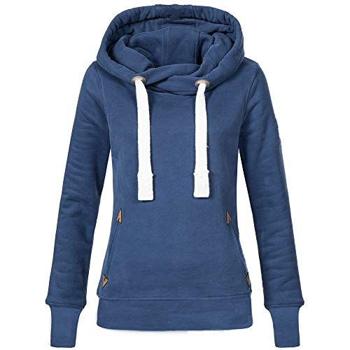 VEMOW Herbst Hoodies Damen Plus Size Langarm Casual Daily Sport Outdoors Freizeit Solid Damen Sweatshirt Kapuzenpullover Tops Shirt Winter Frühling(Blau, EU-48/CN-4XL)