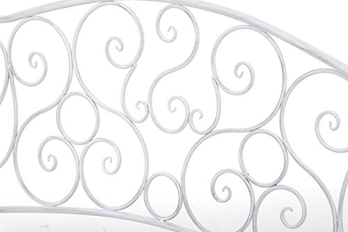 CLP Metall Gartenbank TUAN, 2-er Sitz-Bank Garten, Eisen lackiert, Design nostalgisch antik, 105 x 50 cm Antik Weiß - 5