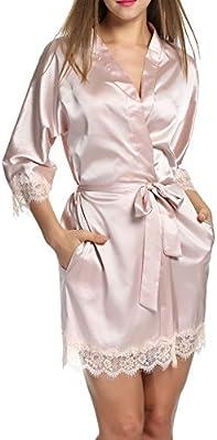 HOTOUCH Mujer Pijama Kimono Satén Seda de Manga 3/4 Hueca Elástico Estilo de Encaje Elegantes Suaves Ropa De Dormir Camisón
