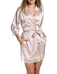 HOTOUCH Mujer Pijama Kimono Satén Seda de Manga 3/4 Hueca Elástico Estilo de Encaje
