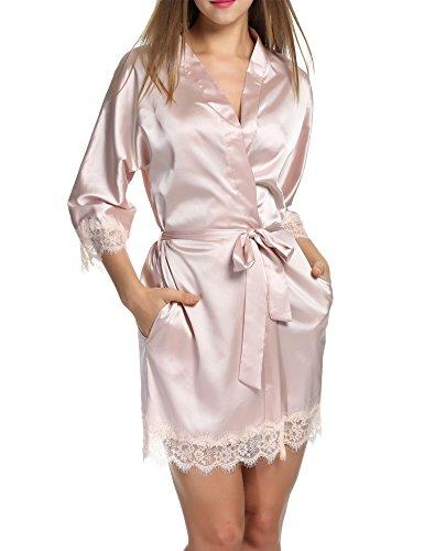 HOTOUCH Mujer Pijama Kimono Satén Seda de Manga 3/4 Hueca Elástico Estilo de Encaje Elegantes Suaves Ropa De Dormir Camisón Pijamas Rosa