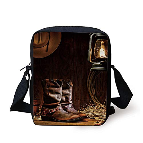 Western,Authentic Western Riding Tools Shoes in Vintage Ranch Barn with Nostalgic Lantern Print Decorative,Brown Print Kids Crossbody Messenger Bag Purse -