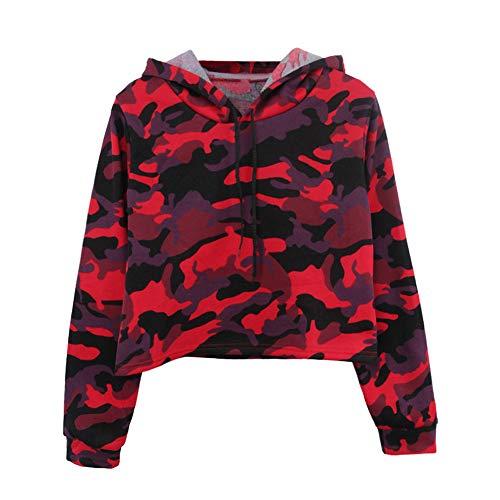 OSYARD Damen Camouflage Pullover, Damen Langarm Camouflage Patchwork O-Ausschnitt Sweatshirt Lässige Kapuzen Tops Bluse (S, Rot)