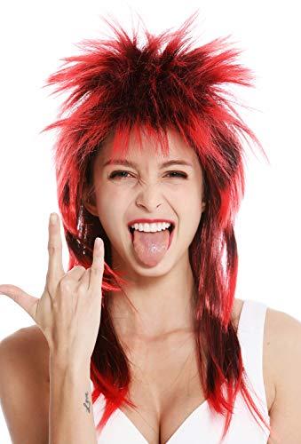 WIG ME UP - DH1069-P103TPC13 Perücke Fasching Karneval Punk Vokuhila Rocker wild 80s Wave toupiert lang schwarz rot