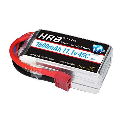 HRB Batteria LiPo 1500mAh 11.1V 45C 3S T per Elicottero Aereo FPV quadcopter Drone Nero Ricambi RC Auto