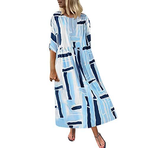 Markthym Damen Sommerkleider Rundhals Kurzarm T-Shirt Kleid Blumenmuster Frauen 3/4 Hülse beiläufiges langes Maxi Kleid Übergröße Kaftan Hemd Kleid Plus Damen-blaues Loses beiläufiges Hülsen-Kleid - Wide Sleeve Print Kleid