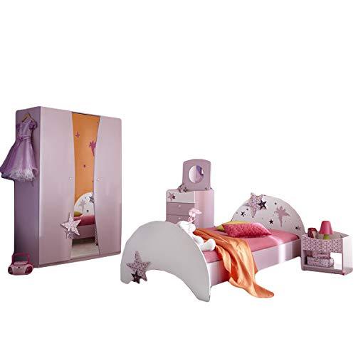 Kinderzimmer Sternchen 4-teilig lila weiß Mädchen Bett Nachtkommode Kleiderschrank Kinderbett Nako Nachtschrank Schrank Jugendzimmer 1291