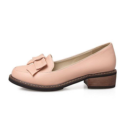 VogueZone009 Femme Tire Rond à Talon Bas Pu Cuir Couleur Unie Chaussures Légeres Rose