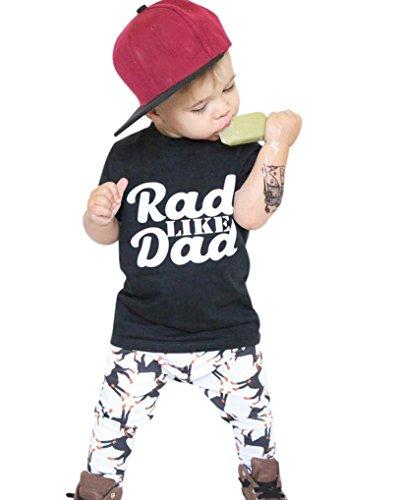 nd Baby Print Tops Shirt Hosen Outfit Set Kleidung Neugeborenes Junge Mädchen Top Overall Set Tops Hosen Outfit Kleider Kurzarm Tops O Neck T-shirt T-stücke LMMVP (Schwarz, 90CM) (Varsity T-stücke)