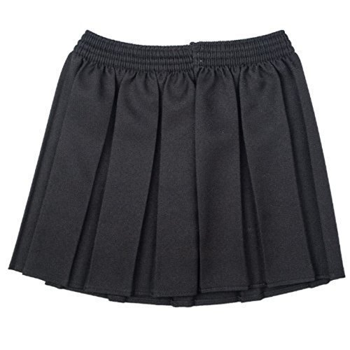 Mädchen Kellerfalte Rock (Neu OU Schuluniform Mädchen Kiste Plissiert Elastisch Rock Schulkleidung Größe 2-17yrs - Schwarz, 134-140)