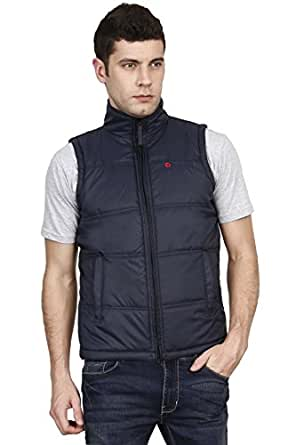 OJASS Sleeveless Solid Men's Jacket Navy Blue