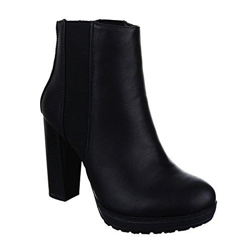 King Of Shoes Damen Stiefeletten Ankle Boots Blockabsatz Plateau 68 (38, Schwarz)