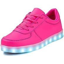 SAGUARO® Jungen Mädchen Turnschuhe USB Lade Flashing Schuhe Kinder LED leuchtende Schuhe mit farbigen Schnürsenkel