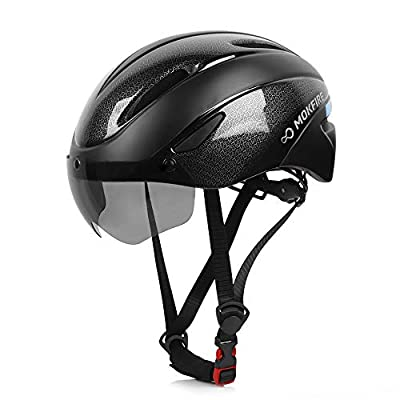 MOKFIRE Adults Bike Helmet with Removable Magnetic Shield Visor, CPSC & CE Certified Adjustable Mountain & Road Bicycle Helmet for Adult Men/Women Size 22.44-24.41 Inches by MOKFIRE