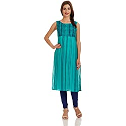 Aurelia Women's Straight Kurta (17FEK12946-61977_XL_GREEN)