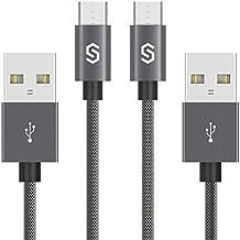 Câble Micro USB Syncwire Cable Samsung - 2M [Lot de 2] Garantie à Vie - Ultra Durable Nylon Chargeur 2.4A pour Samsung Galaxy, Nokia, Huawei, Nexus, LG, Sony, HTC, Appareils Android - Gris