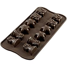 SCG06 Molde de silicona con 12 cavidades tema Navidad, color marrón