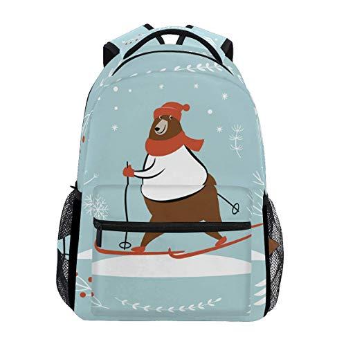 Wfispiy Schulrucksack Bär Ski Cute Bookbag Daypack -