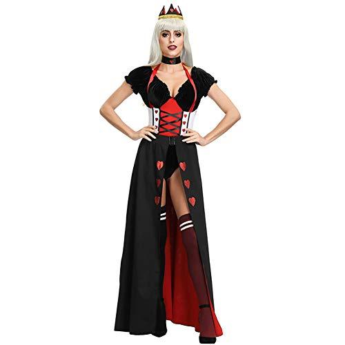 Story of life Halloween Gericht Retro Königin Spielt Kostüm Rotes Herz Poker Königin Bühnenkostüm Party Fancy Dress Up Outfits,Black,M (Mittelalterliches Bankett Kostüm)