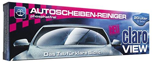 claro view - 5 Stück phosphatfreier Öko Scheibenreiniger für Autos Scheibenklar Autoscheibenreiniger Tabs Packung für 20l