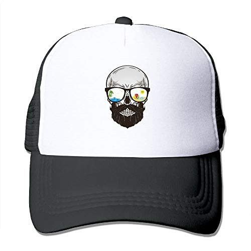 LAMUCH Beard Skull with glasses Classic Trucker Hat Adjustable Mesh Back Cap