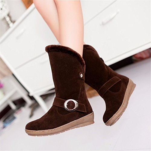 cylinder medium brown hair boots thick for students cotton warm flat wear comfortable Two boots wq8SRR