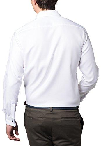 Eterna Long Sleeve Shirt Modern Fit Natté Structured Bianco