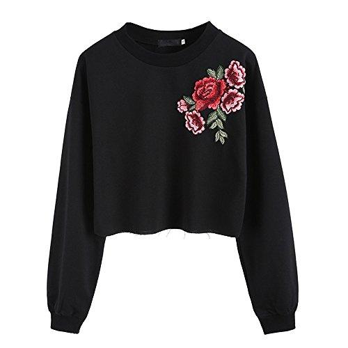 Preisvergleich Produktbild BBring Mode Pullover Damen Langarm O-Hals Rose Stickerei Applique Sweatshirt Tops Bluse (L,  Schwarz)