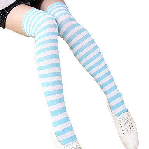 Aivtalk Damen Mädchen gestreift über das Knie Oberschenkel hoch Socken Strümpfe, Damen, Striped/Blue&White, Over Knee-Extra Long