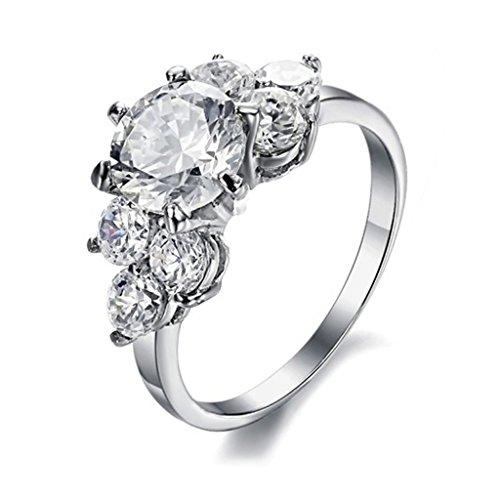 Bishilin Acciaio Inossidabile Donna Argento Anelli Matrimonio Anello di Fidanzamento con Sparkling Zirconio Misura 20
