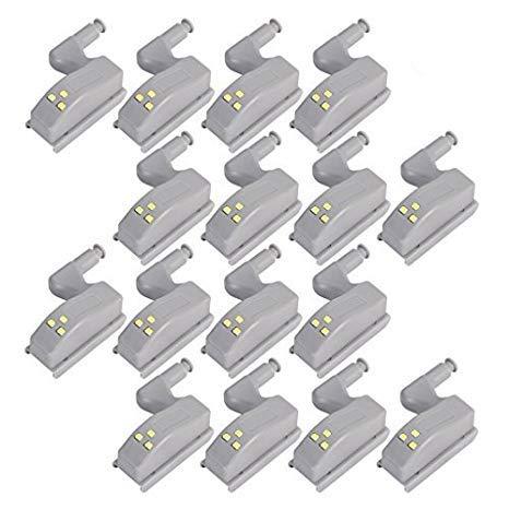 COSORO 16er Heim Universal Kabinett Bewegungsmelder LED Bewegungsmelder Licht LED Nachtlichter Kleiderschrank Scharnier LED Light System Home Kitchen Lamp,Scharniere ON/OFF Nachtlicht (Warmes Weiß) -