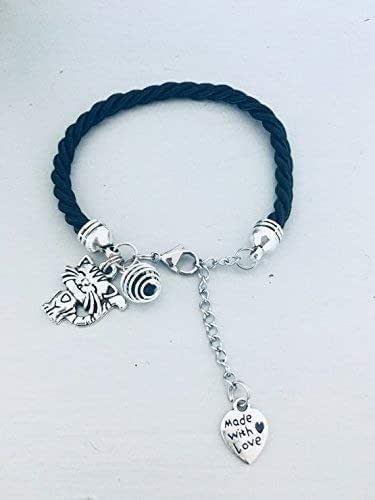 Bracciale nero con ciondolo gatto, gioiello, gioielli, bracciali, bracciale donna, bracciale nero, bracciale gatto, gioiello gatto