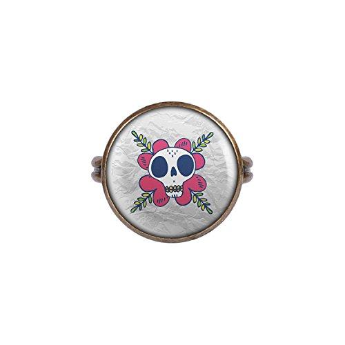 (Mylery Ring mit Motiv Totenkopf Schädel Mädchen Mexiko bronze 16mm)