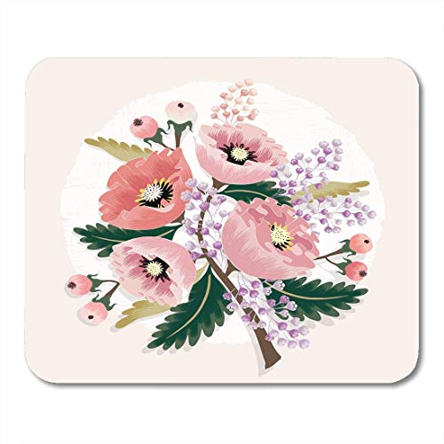 Deglogse Gaming-Mauspad-Matte, Blossom Green Graphic of Beautiful Floral Bouquet with Flowers Birthday Pink Abstract Border Mouse Pad,Desktop Computers Mouse Mats, -