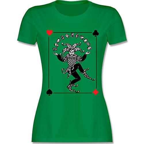 Karneval & Fasching - Joker Karte - M - Grün - L191 - Damen Tshirt und Frauen T-Shirt