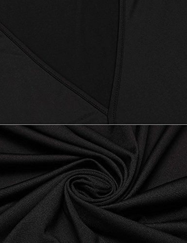 Zeela Damen V Ausschnitt Asymmetrisch Langarmshirt Wickel Pullover Oberteile Shirt Bluse Top mit Bindeband Schwarz
