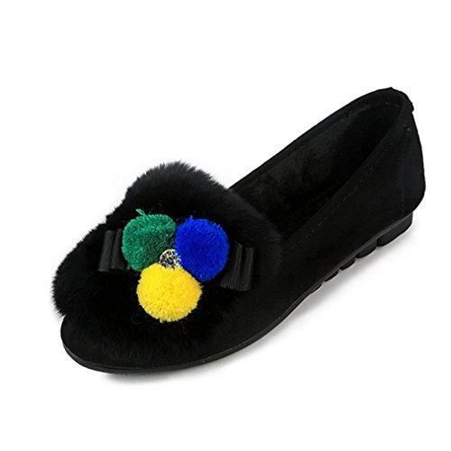 DM&Y 2017 modelli coreani leopardo scarpe di pelliccia poco profondi pattini della bocca pattini dei piselli scarpe. pi¨´ di velluto fondo pesante scarpe Black