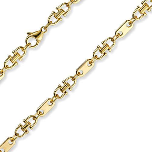 5,5mm Platte-Steigbügel Kette Collier Halskette, 585 Gold Gelbgold, 50cm