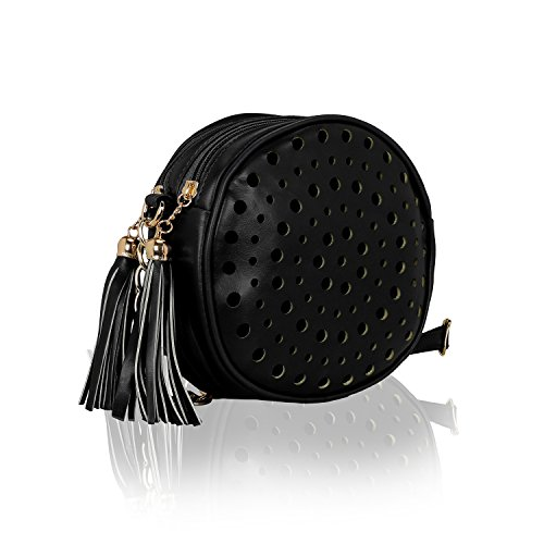 Kleio Stylish Round Double Compartment Laser Cut With Tassel Cross Body Sling Bag for Girls / Women