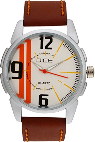 """Dice """"Alumina 1727"""" Casual Round Shaped Wrist Watch For Men. Fitted with Beautiful White Color Dial and Anti Allergic Leather Strap"""