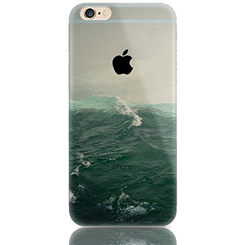 Sunroyal® Creative 3D TPU Custodia per Apple iPhone SE 5 5S Trasparente Chiaro 3 in (Onde Jack)