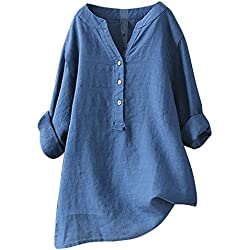 Yvelands Camisa Casual Femenina, Tops para Mujer Sólida Camiseta de Manga Larga Loose Button Down Blusa Liquidación! (Azul, XL)