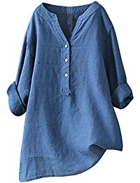 Yvelands Camisa Casual Femenina, Tops para Mujer Sólida Camiseta de Manga Larga Loose Button Down Blusa Liquidación!