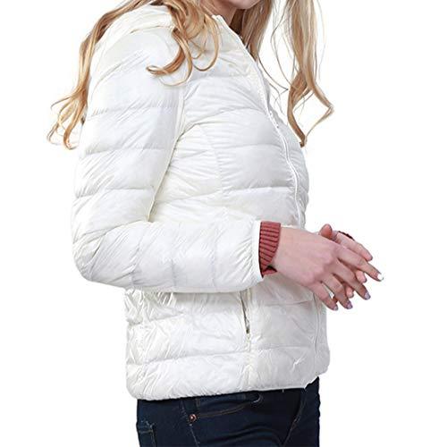 GWELL Damen Ultra Leicht Daunenjacke mit Kapuze 90% Daunen Winter Super Warm Steppjacke Übergangsjacke Bodywarmer Weiß 3XL
