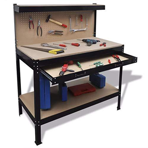 Mesa de Trabajo con Tablero de Clavijas y Cajón,Capacidad de Carga: 150 kg