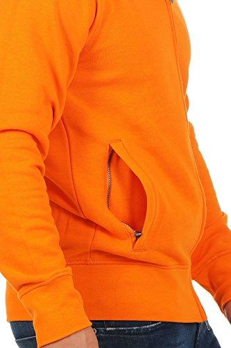 Herren Sweatjacke ohne Kapuze Zip-Jacke mit Kragen, Größe:S, Farbe:Orange - 5