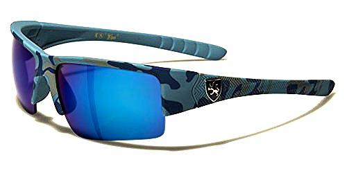 Khan Sonnenbrillen Sport - Radfahren - Skifahren - Running - Moto - Militär / Power Camo Blau