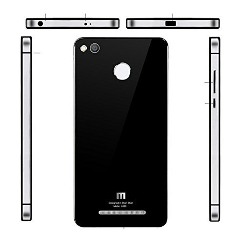 HIGAR Luxury Glass Back Aluminium mobile Battery back Panel replacement Case Cover for Xiaomi Redmi 2 / Xiaomi Redmi 2 Prime With Higar Retail Box - Apple Silver