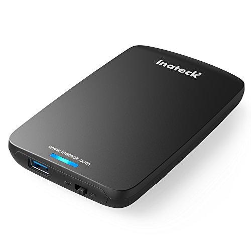 """Inateck 2,5-Zoll USB 3.0 Festplatte Externes Gehäuse Case für 9.5mm 7mm 2.5"""" SATA HDD und SSD mit USB 3.0 Kabel, werkzuglose Installation von HDD"""