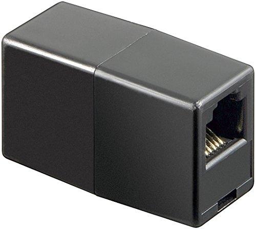 5er Set goobay Telefon Adapter (RJ12-Kupplung, RJ12 Buchse auf RJ12 Buchse) schwarz Belegung 1:1 -